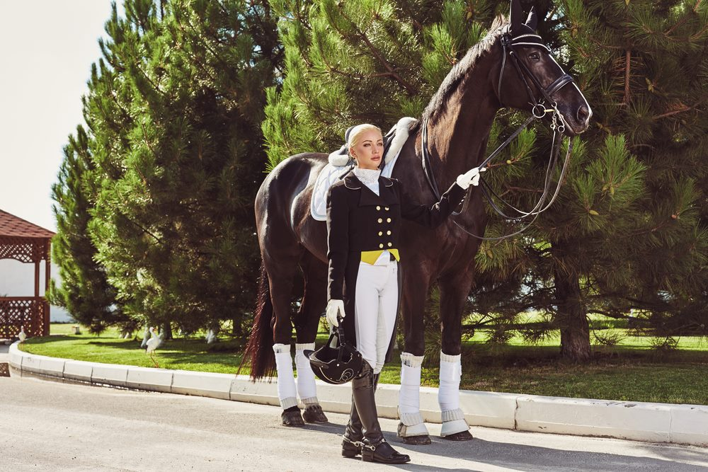 Horse riding lady with horse - equestrian lifestyle Marbella
